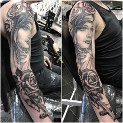 Beautiful Lady and Cross Sleeve